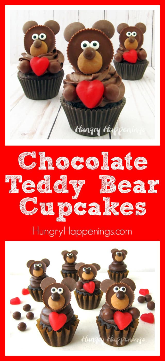 Chocolate Teddy Bear Cupcakes with Candy Decorated Reese's Cup Bears Holding JuJu Hearts for Valentine's Day