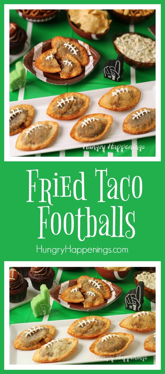 Your friends will cheer when you serve them Fried Taco Footballs at your tailgating or homegating party. These fun game day appetizers will make the perfect snack for the big game.