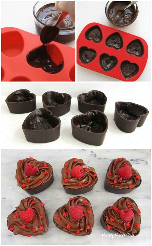 how to make chocolate heart cups and bowls