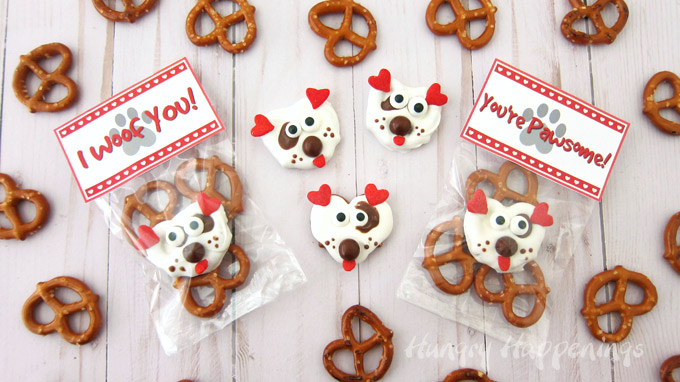 I Woof You and You're Paw-some Printable tags for Puppy Pretzel Bags