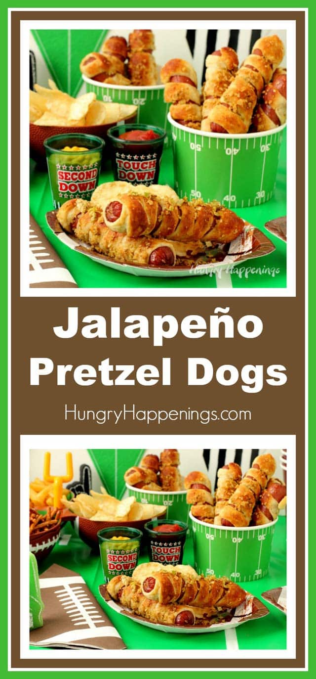 Football fans of all ages will cheer when you serve these Pretzel Dogs Topped with French's® Crispy Fried Jalapeños at your big game tailgating or homegating party.