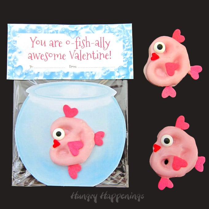 Valentine's Day Pretzel Fish with Printable Fish Bowl and Bag Toppers