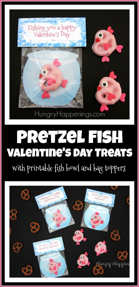 Your kids will think these Valentine's day treats are oh-fish-ally the sweetest! Each pink candy coated Valentine's Day Pretzel Fish looks like it's swimming in a fish bowl and is packaged with a punny bag topper: You're O-Fish-Ally Awesome, Have a Fin-Tastic Valentines Day, and Fishing You a Happy Valentine's Day.