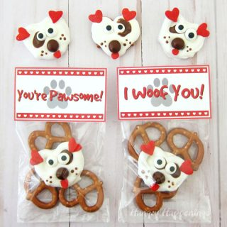 White Chocolate Pretzel Puppies with Printable Valentine Tags