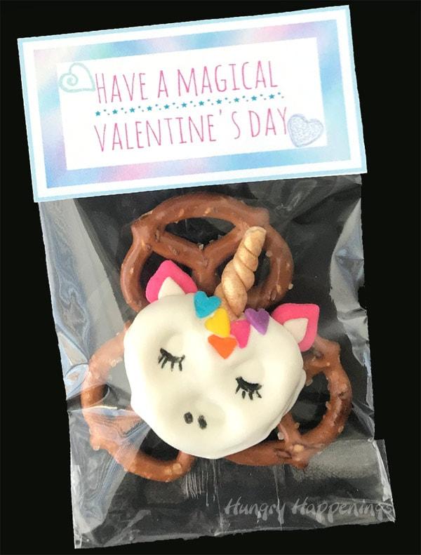 Valentine's Day Pretzels - White Chocolate Dipped Pretzel Unicorns