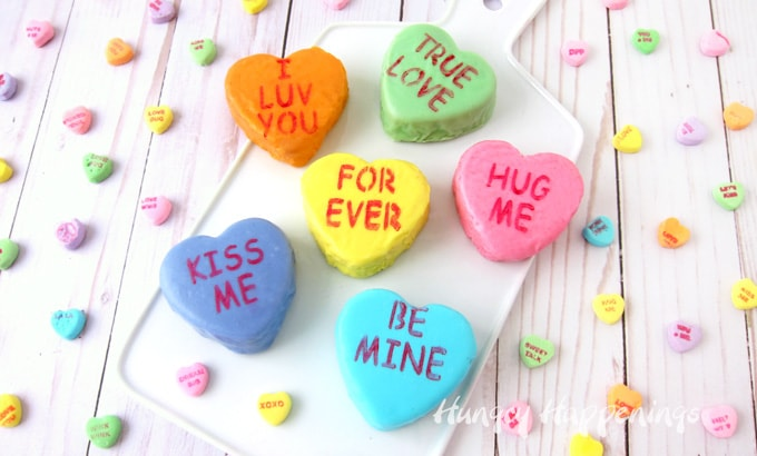 Valentine's Day Conversation Heart Cakes