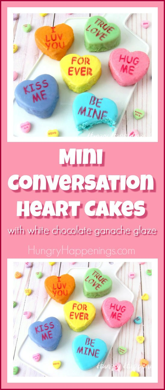 Your sweetheart will love these scrumptious Mini Conversation Heart Cakes with White Chocolate Ganache Glaze. Each colorful cake looks just like a conversation heart candy and is imprinted with a special message for Valentine's Day.