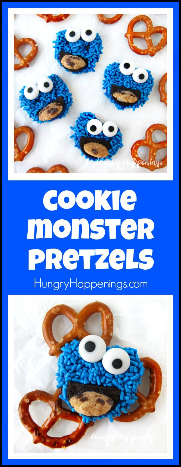 Cookie Monster Pretzel. Cute Sesame Street Party Food.
