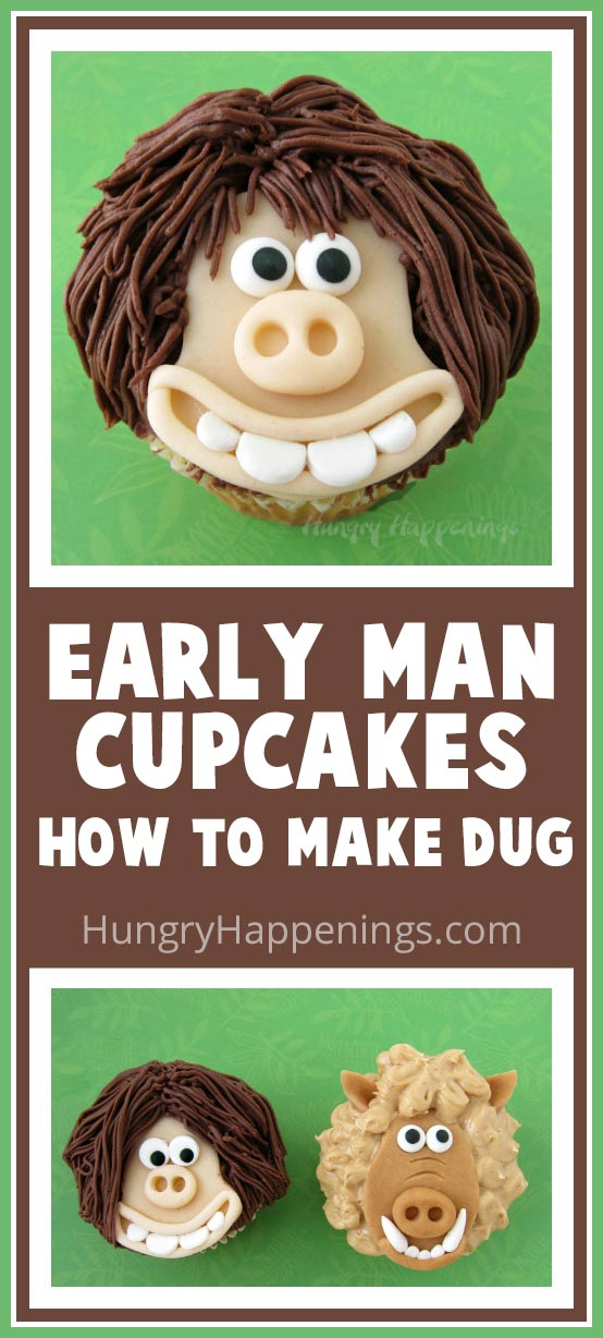 Have a ball creating these Early Man Cupcakes using modeling chocolate. In this video tutorial you will learn how to make Dug, the movie's main character. With his toothy grin and messy hair this caveman looks so cute as a cupcake.
