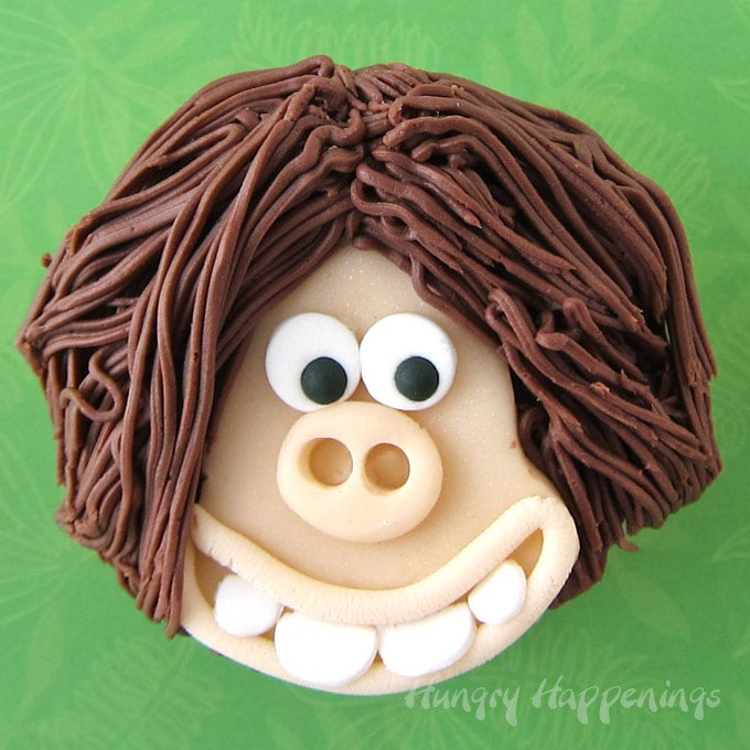 Early Man Dug Cupcakes Modeling Chocolate Decorations