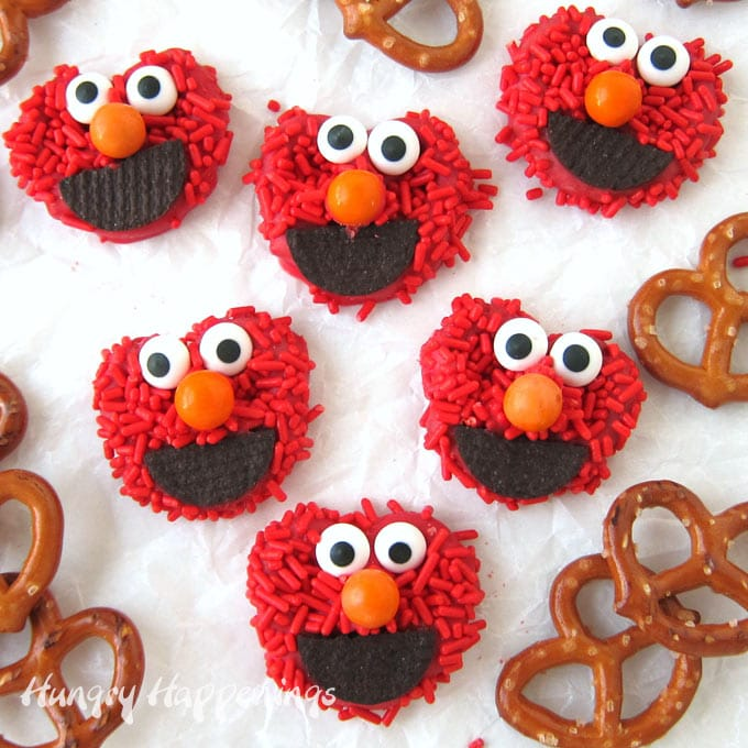 Elmo Pretzels Chocolate Covered in Red Sprinkles