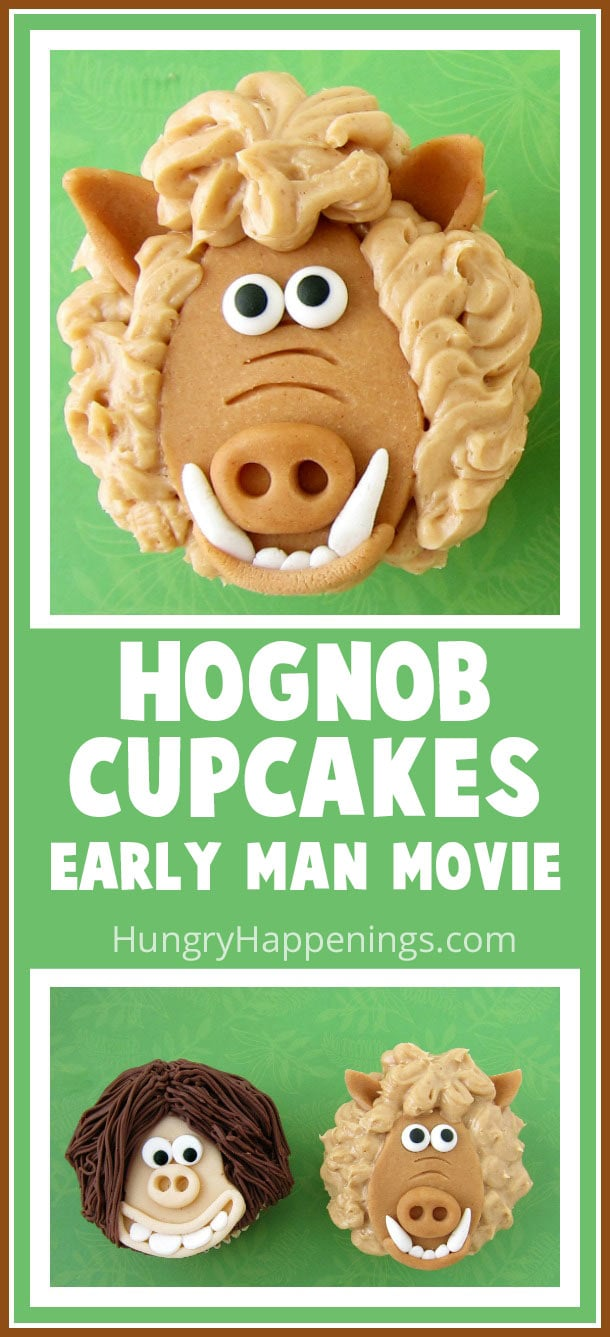 Let your inner claymation artist out and have fun crafting Hognob Cupcakes using modeling chocolate. Even with little sculpting skills you can turn a piece of candy clay into a cute cupcake topper to look like this woolly Early Man character.
