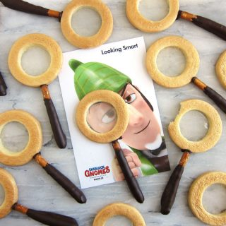 Sherlock Gnomes Magnifying Glass Cookies with Clear Candy Glass