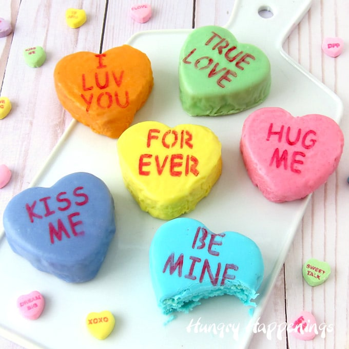 Mini Conversation Heart Cakes with White Chocolate Ganache Glaze for Valentine's Day