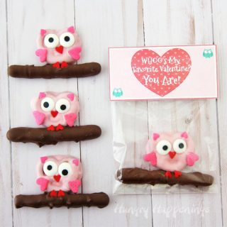 Chocolate Pretzel Owls with Valentine's Day Bag Toppers