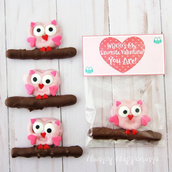 graphic relating to Owl Miss You Printable identify Pretzel Owls - Lovable Valentines Working day Snacks with Printable Bag Toppers