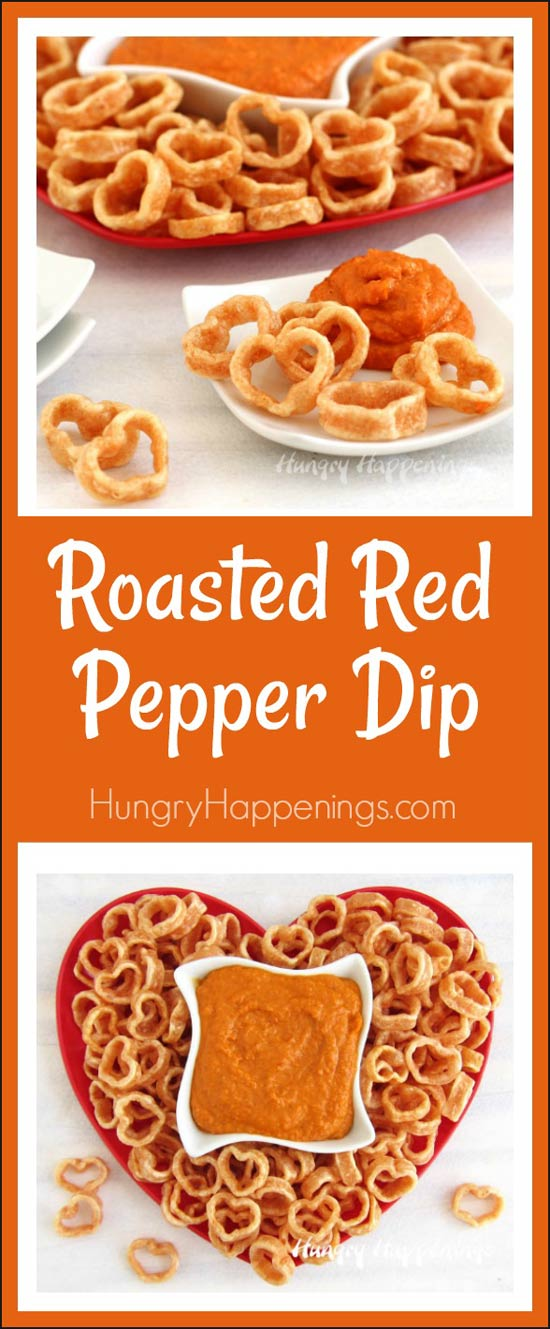 Roasted Red Pepper Dip served with Mini Heart Shaped Veggie Chips