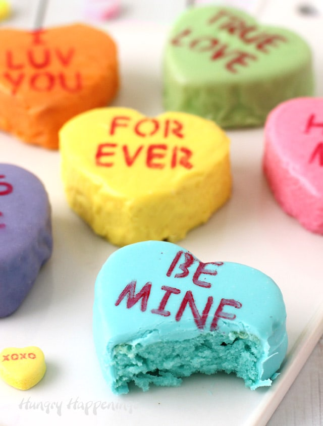 Valentine's Day Recipes Mini Conversation Heart Cakes