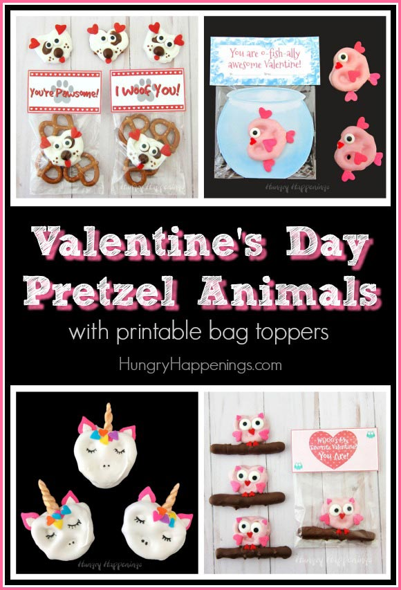 Valentine's Day Pretzel Animals with printable bag toppers.