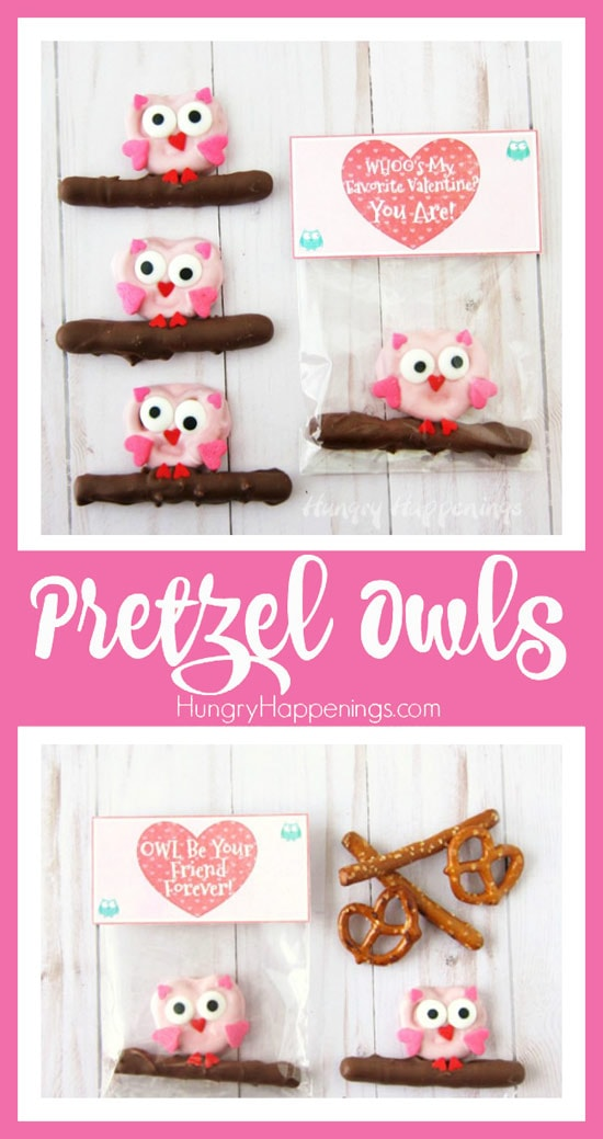 Pretzel Owls with Printable Valentine's Day Bag Toppers. Kids will love these holiday treats.