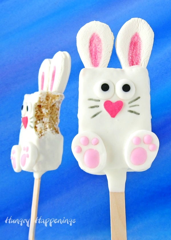 cereal treat Easter bunnies on popsicle sticks