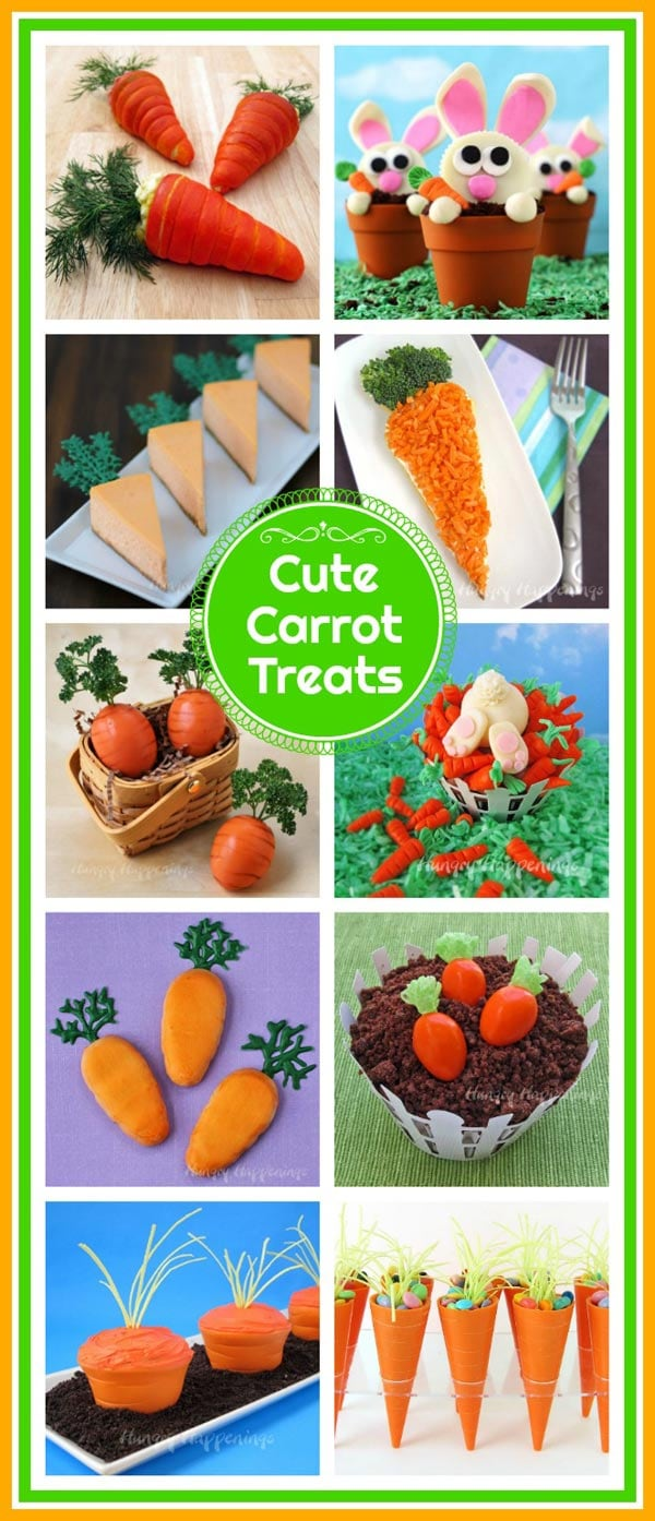 Cute Easter Carrot Treats including Cheesecake Carrots, Carrot Cupcakes, Hard Boiled Egg Carrots and more!
