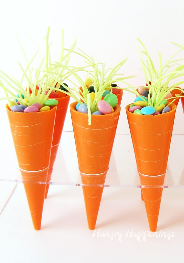 Easter chocolate carrots - candy cups filled with jelly beans and pastel M&M's