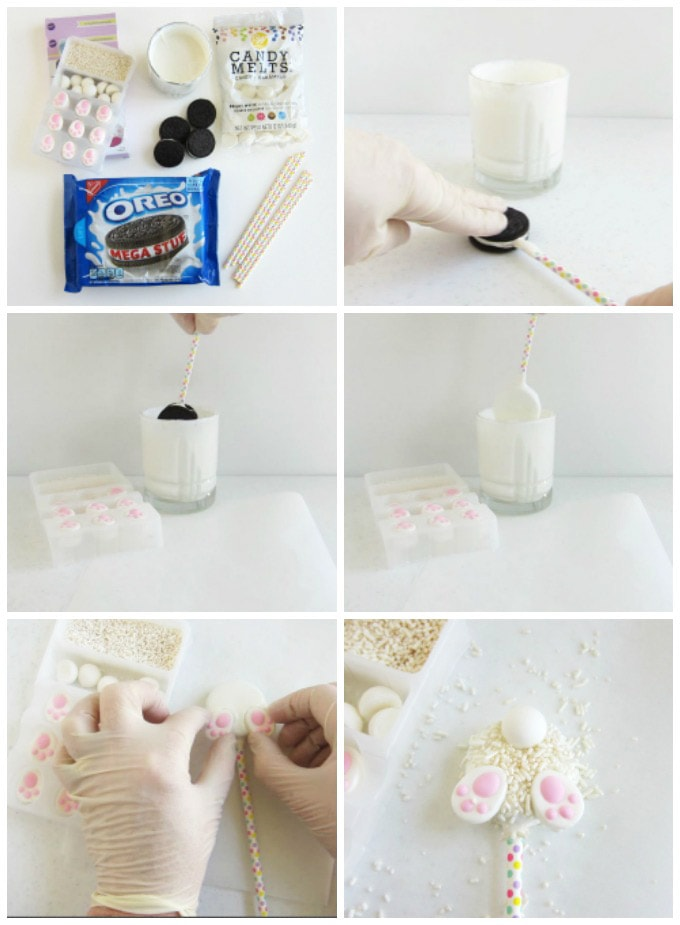 How to make cute and simple Oreo Bunny Butt Cookies for Easter.