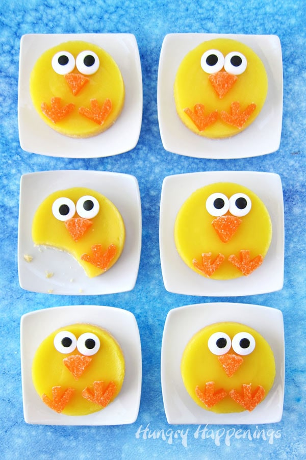 Easter dessert round lemon bar chicks with a shortbread crust.