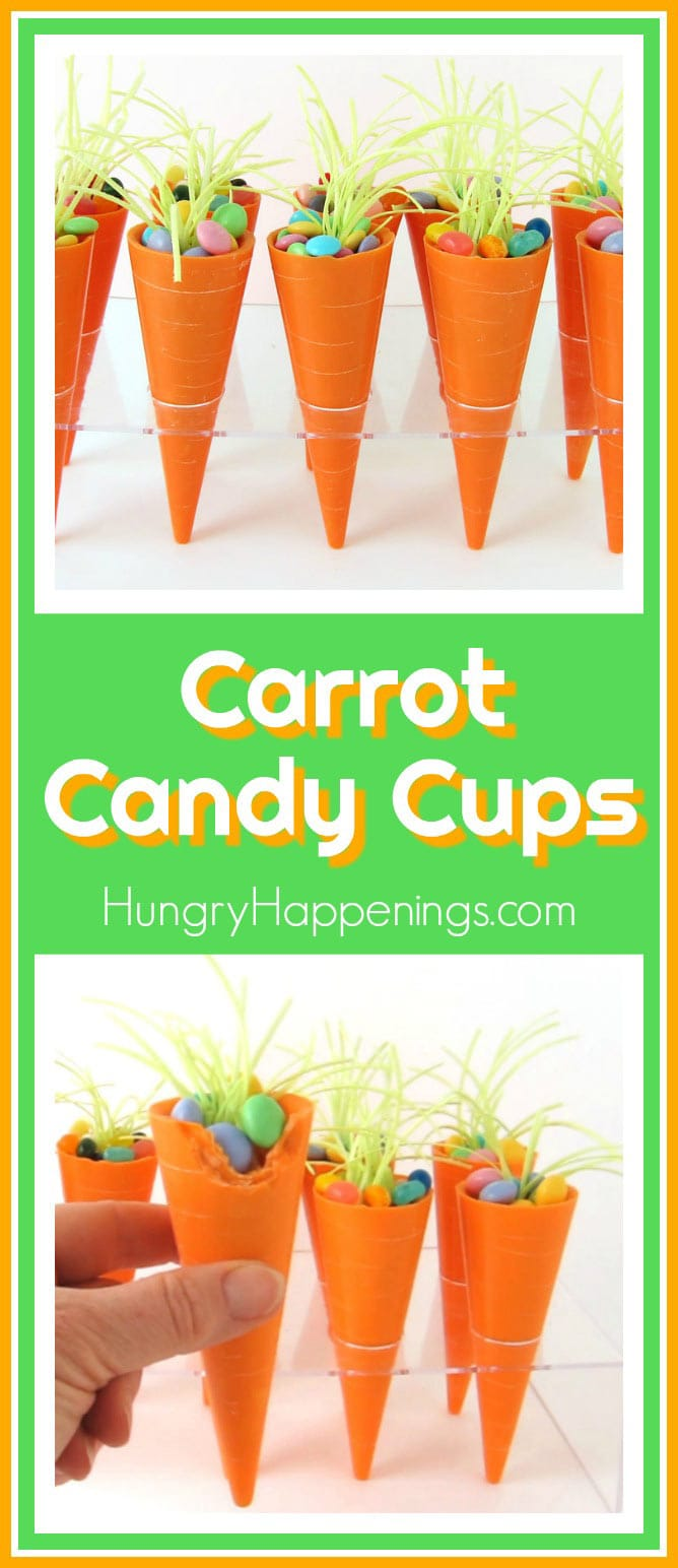 Collage showing orange candy carrots cups filled with Easter M&M's and Jelly Bellies