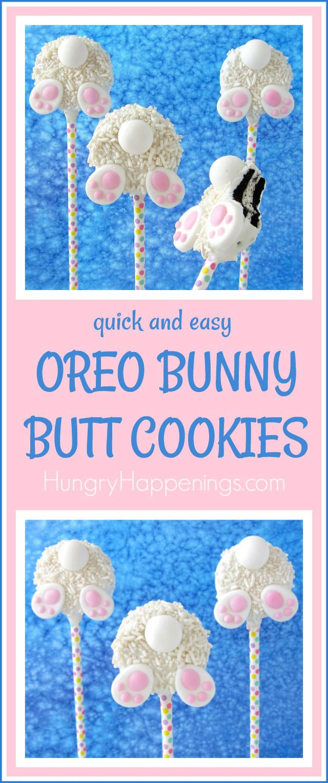 It is so easy to make these cute OREO Bunny Butt Cookies for Easter using Mega OREO Cookies, Candy Melts, and a Bottoms Up Bunny Decorating Kit from Wilton.