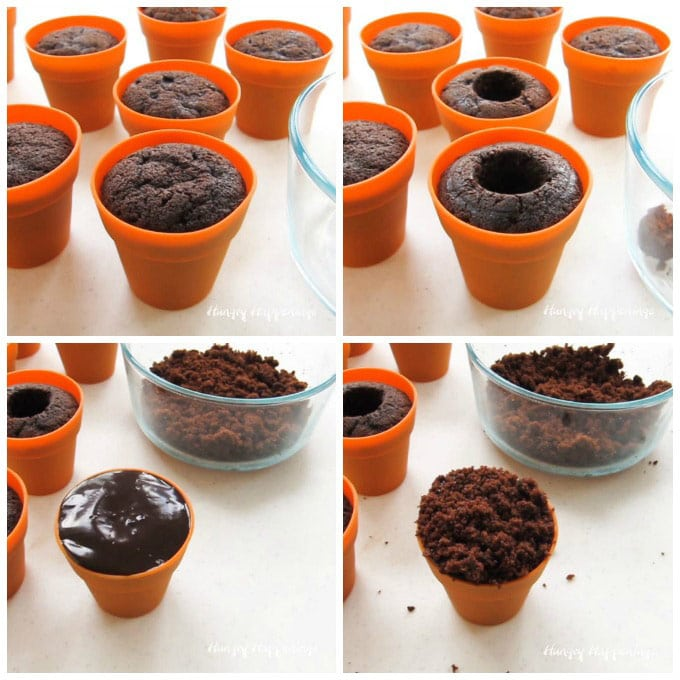 collage of images showing how to make chocolate cupcakes in silicone terra cotta pots then how to cut out a well and fill it with chocolate ganache