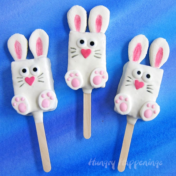 Rice Krispie Treat Bunny Pops Easter Basket Candy