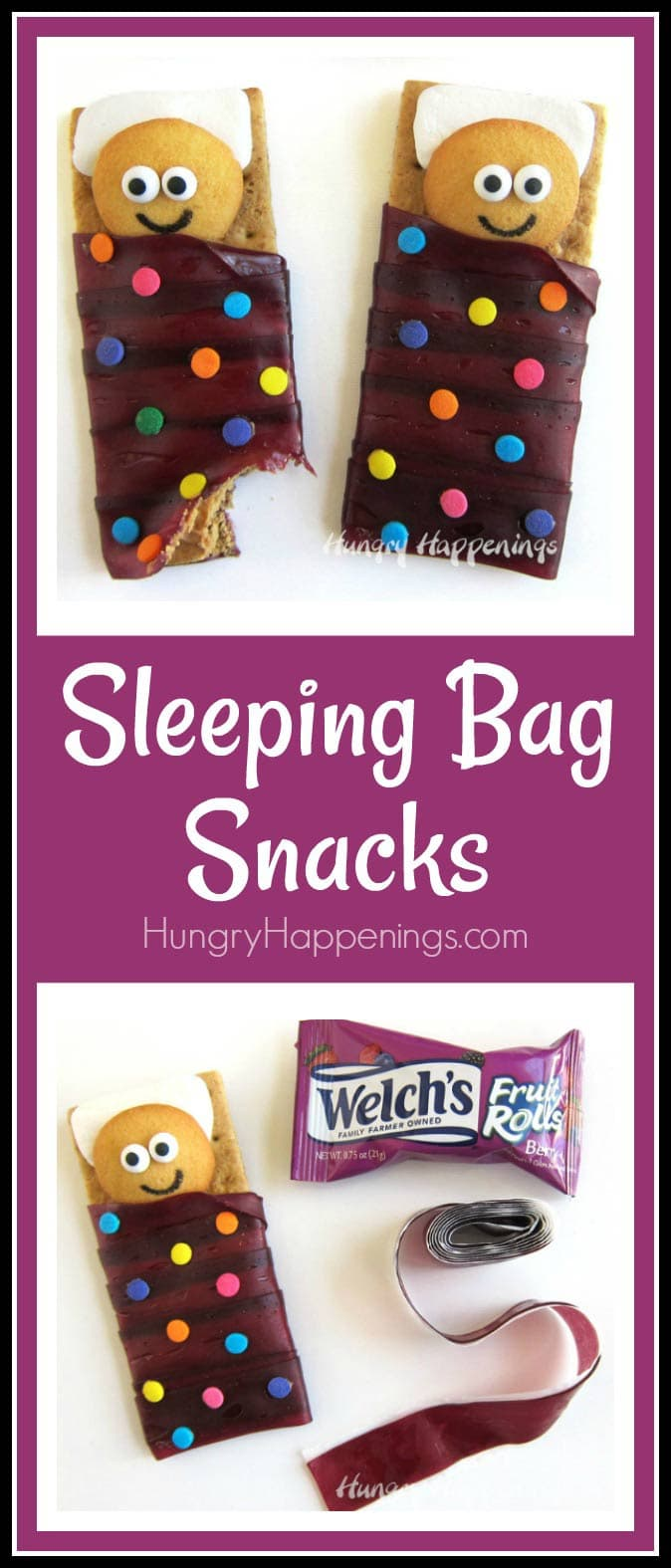 Sleeping Bag Snacks - Cookie kids sleeping on marshmallow pillows and graham crackers topped with peanut butter wrapped in Welch's Fruit Rolls sleeping bags.