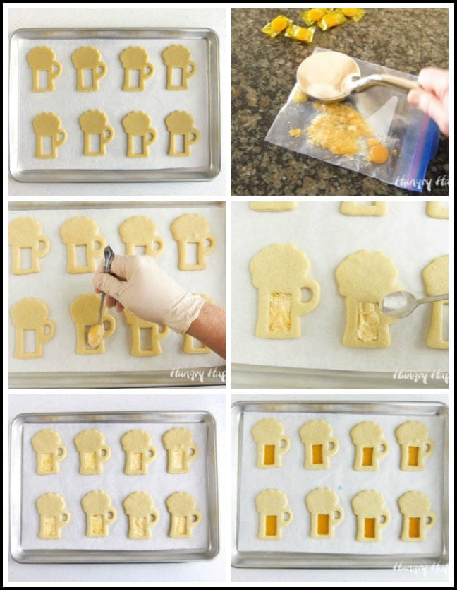 Crush butterscotch candies and fill beer mug cookies with candy crumbs then bake until melted.