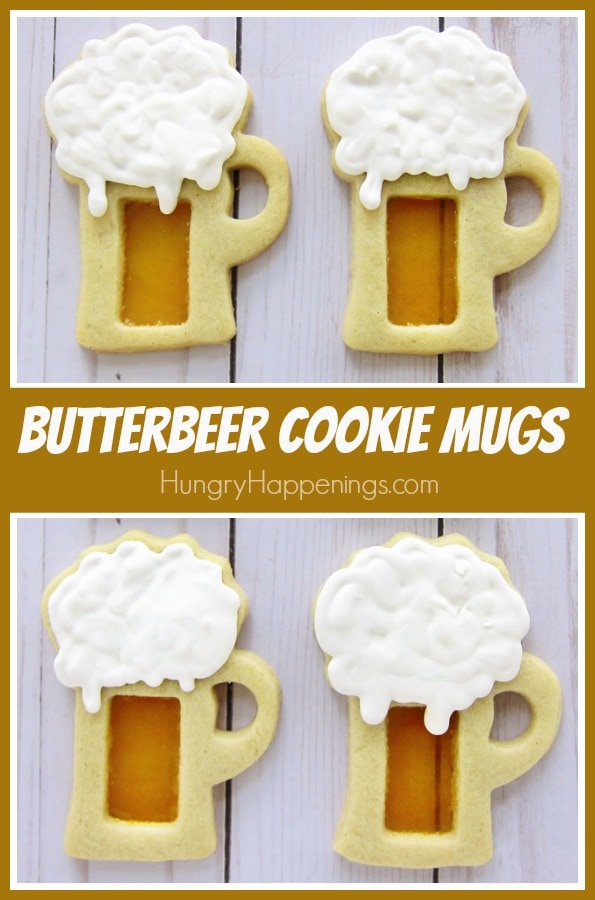 If you are a fan of the Harry Potter books and movies you are going to geek out over these Butterbeer Cookie Mugs. You can see through the butterscotch candy glass in the center of each of these butterbeer flavored, beer mug shaped, cookies. Each mug is topped with frothy butterbeer royal icing.