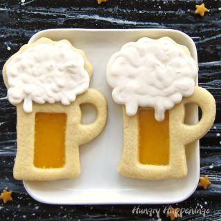 Harry Potter Butterbeer Cookie Mugs with Butterscotch Candy Glass and Butterbeer Flavored Royal Icing