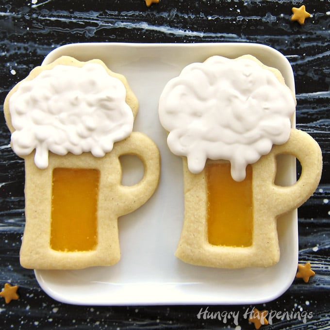 Harry Potter Butterbeer Cookie Mugs With Butterscotch Candy Glass And Flavored Royal Icing