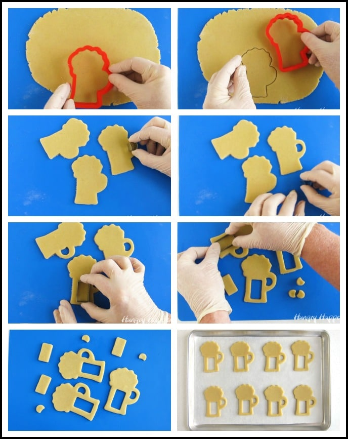 Roll out butterbeer cookie dough and cut it using a beer mug cookie cutter.