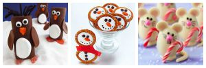 Cute desserts and appetizers for Christmas.