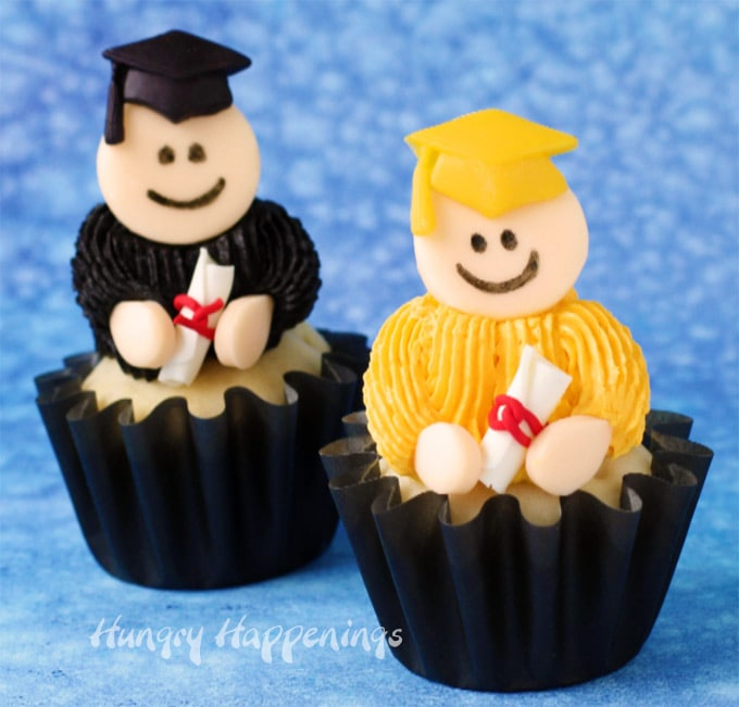 Graduate Cupcakes with Modeling Chocolate Toppers