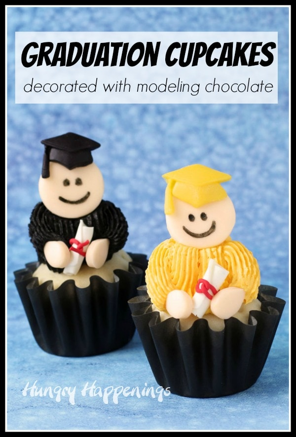cupcake graduates decorated with black and gold frosting and modeling chocolate caps and diplomas