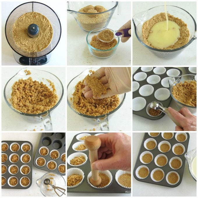 How to make graham cracker crusts in muffin cups for mini cheesecakes.