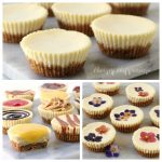 Mini Cheesecakes, plain, topped in chocolate, caramel, or strawberry sauce, or lemon curd, or edible flowers.