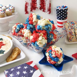 4th of July Party Food including recipes for Red, White, and Blue Popcorn Balls and Patriotic Chicken Dip