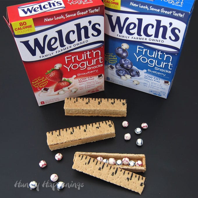 Back to school snack idea - graham cracker rulers filled with Welch's Fruit Snacks