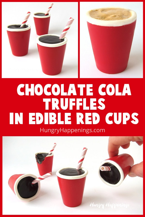 Chocolate Coca Cola Truffles in Edible Red Cups look just like soda pop in plastic red cups with straws and are fun to serve at any party.