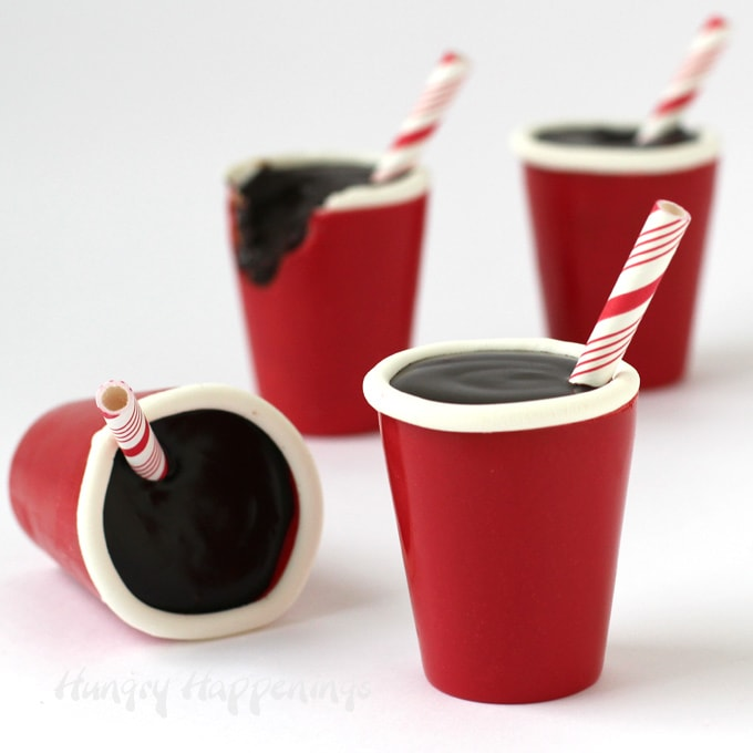 Chocolate cola truffles in edible red cups are fun desserts for any party.