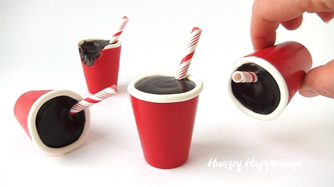 Candy Red SOLO Cups filled with Cola Flavored Chocolate Ganache.