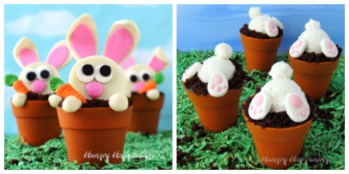 Flower Pot Cupcakes with candy bunnies and frosting bunny butts.